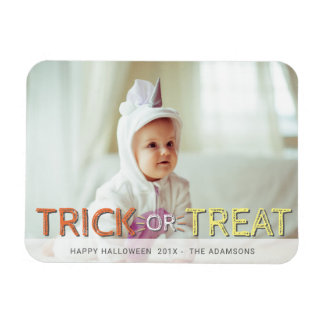 Modern Trick Or Treat Photo Halloween Magnet