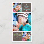 """Modern Trio Photo Baby Boy Birth Announcement<br><div class=""""desc"""">Introduce your new little one to the world with this beautiful modern birth announcement by katkadoodle.com.  Soft mocha brown backgrounds,  contemporary typography in fun blue,  green,  and orange with simple styling that features three portrait photos of your sweet baby. Other colors also available.</div>"""