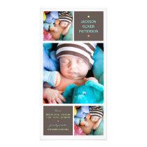 Modern Trio Photo Baby Boy Birth Announcement