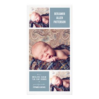 Modern Trio Photo Baby Boy Birth Announcement