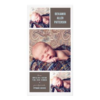 Modern Trio Photo Baby Boy Birth Announcement Photo Cards