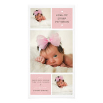 Modern Trio Photo Baby Girl Birth Announcement