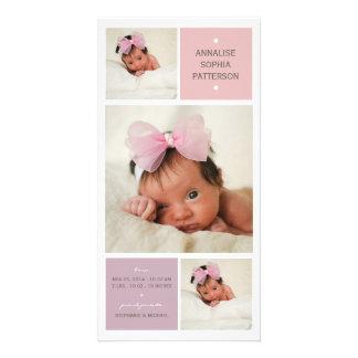 Modern Trio Photo Baby Girl Birth Announcement