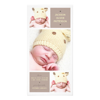 Modern Trio Photo Baby Girl Birth Announcement Photo Cards