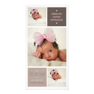 Modern Trio Photo Baby Girl Birth Announcement Photo Card