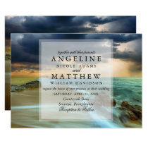 Modern Tropical Beach Sandy Sea Wedding Card