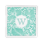 Modern Tropical Damask Monogram Acrylic Tray