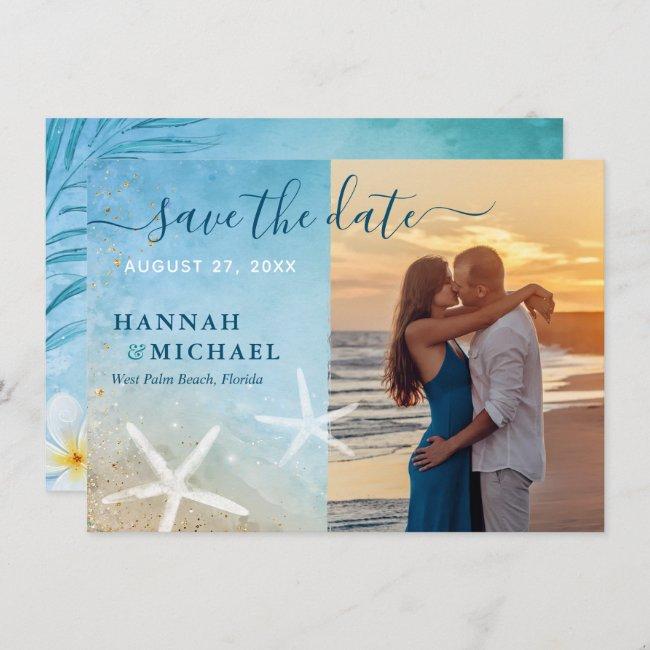 Modern Tropical Elegant Beach Wedding Photo Save The Date