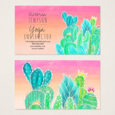Modern Tropical Exotic Cactus Illustration Yoga Business Card at Zazzle