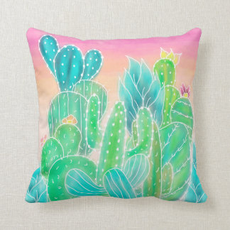Modern tropical exotic summer cactus watercolor throw pillow