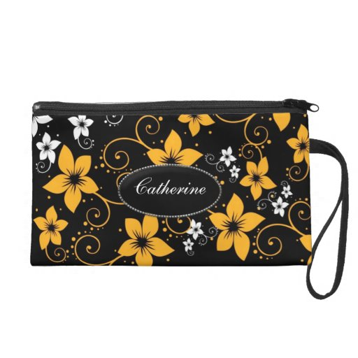 Modern Tropical Floral Women's Purse Wristlet