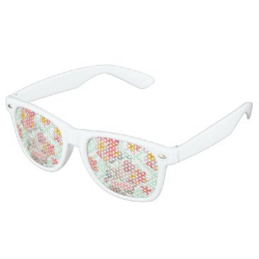 Beach Themed Modern tropical flowers seashells geometric design retro sunglasses