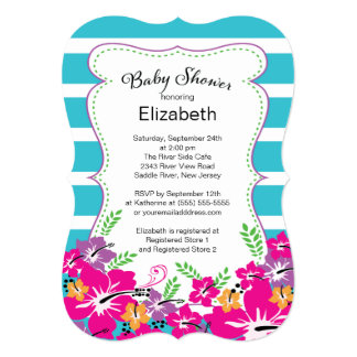 """Modern Tropical Hibiscus Flowers Baby Shower 5"""" X 7"""" Invitation Card"""