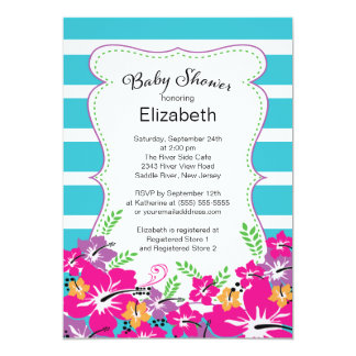 Modern Tropical Hibiscus Flowers Baby Shower Card