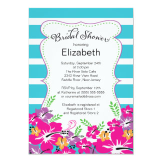 Modern Tropical Hibiscus Flowers Bridal Shower Invite