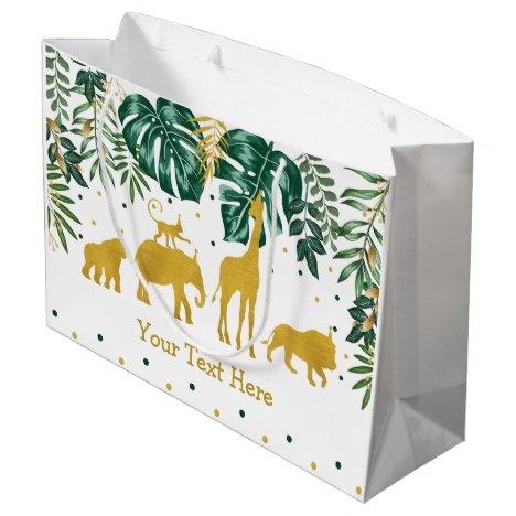 Modern Tropical Jungle Safari Animals Party Large Gift Bag