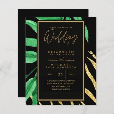 Modern Tropical Leaf Gold Black Wedding Budget