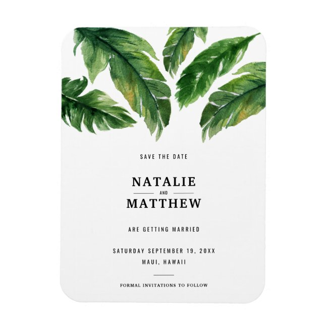 Modern tropical leaf save the date magnet