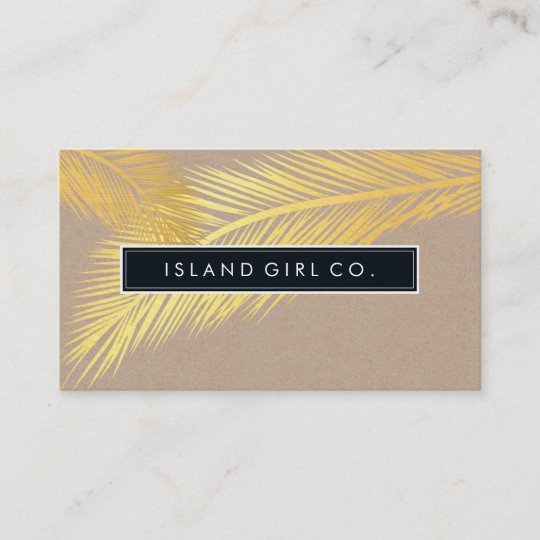 modern tropical palm fronds logo trendy gold kraft business card - Kraft Business Cards