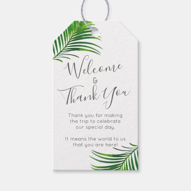 Modern Tropical Palm Greenery Beach Wedding Favor Gift Tags
