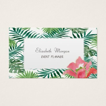 Beach Themed Modern  Tropical Palm Hawaiian Hibiskus Business Card