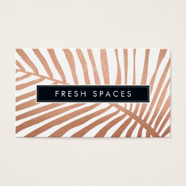 Beach Themed MODERN TROPICAL PALM LEAF logo trendy rose gold Business Card