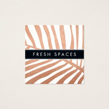 Beach Themed MODERN TROPICAL PALM LEAF logo trendy rose gold Square Business Card