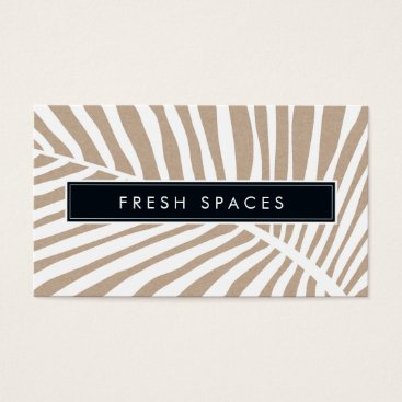 Beach Themed MODERN TROPICAL PALM LEAF logo trendy white kraft Business Card