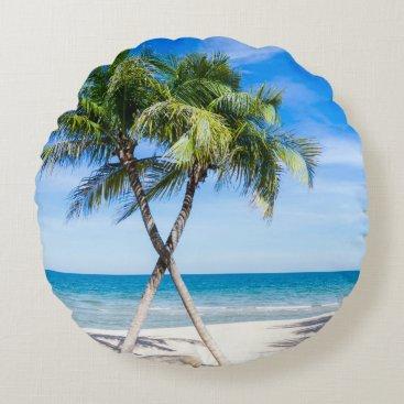 Beach Themed Modern tropical palm tree photo pillow