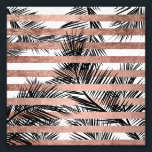 "Modern tropical palm trees chic rose gold stripes photo print<br><div class=""desc"">A stylish,  modern and tropical design with simple black palm tree leaves with chic,  elegant and luxurious faux rose gold foil stripes pattern,  The white color background is fully customizable</div>"