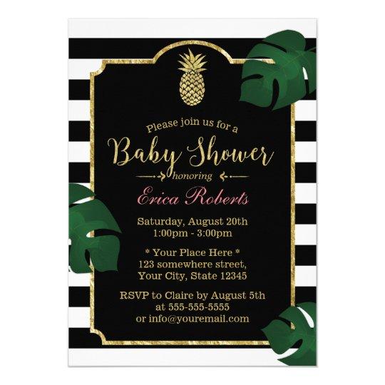 Modern tropical pineapple hawaiian baby shower invitation zazzle modern tropical pineapple hawaiian baby shower invitation filmwisefo