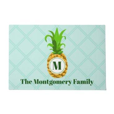 Beach Themed Modern Tropical Pineapple & Monogram Family Name Doormat