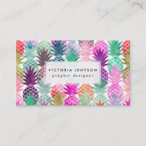 Modern tropical pineapples pastel watercolor business card