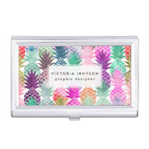 Modern tropical pineapples pastel watercolor case for business cards