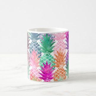 Modern tropical pineapples pastel watercolor coffee mug