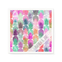 Modern tropical pineapples pastel watercolor napkin