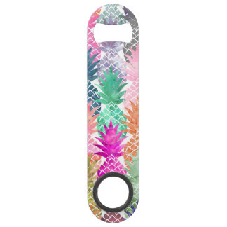 Modern tropical pineapples pastel watercolor speed bottle opener