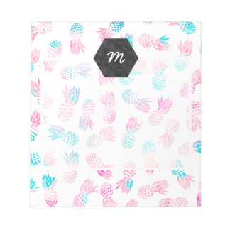 Modern tropical pineapples watercolor illustration notepad