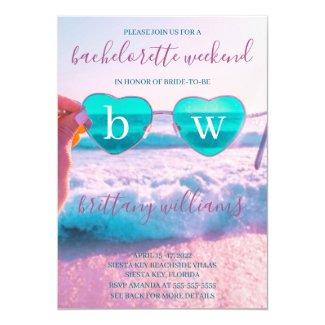 Modern Tropical Pink Bachelorette Beach Weekend Invitation