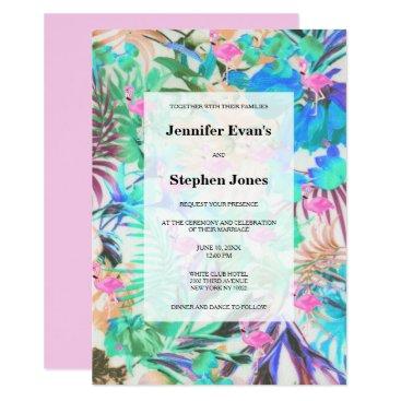 Beach Themed Modern tropical teal pink flamingo floral wedding card