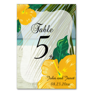 Modern Tropical Wedding    Personalize Table Card