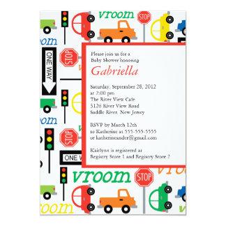 "Modern Trucks Boy Baby Shower Invitation 5"" X 7"" Invitation Card"