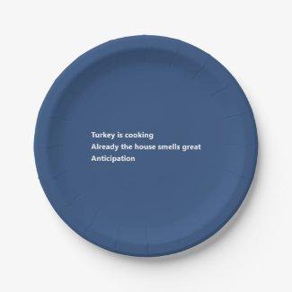 Modern Turkey Poem Minimal Blue Thanksgiving Paper Plate