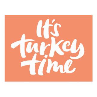 Modern 'Turkey Time' Thanksgiving Calligraphy Postcard