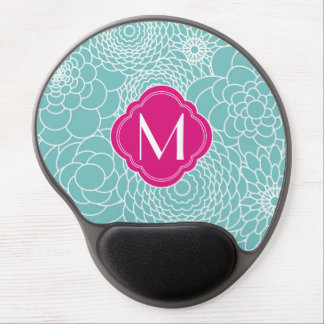 Modern Turquoise abstract flowers with Monogram Gel Mouse Pad