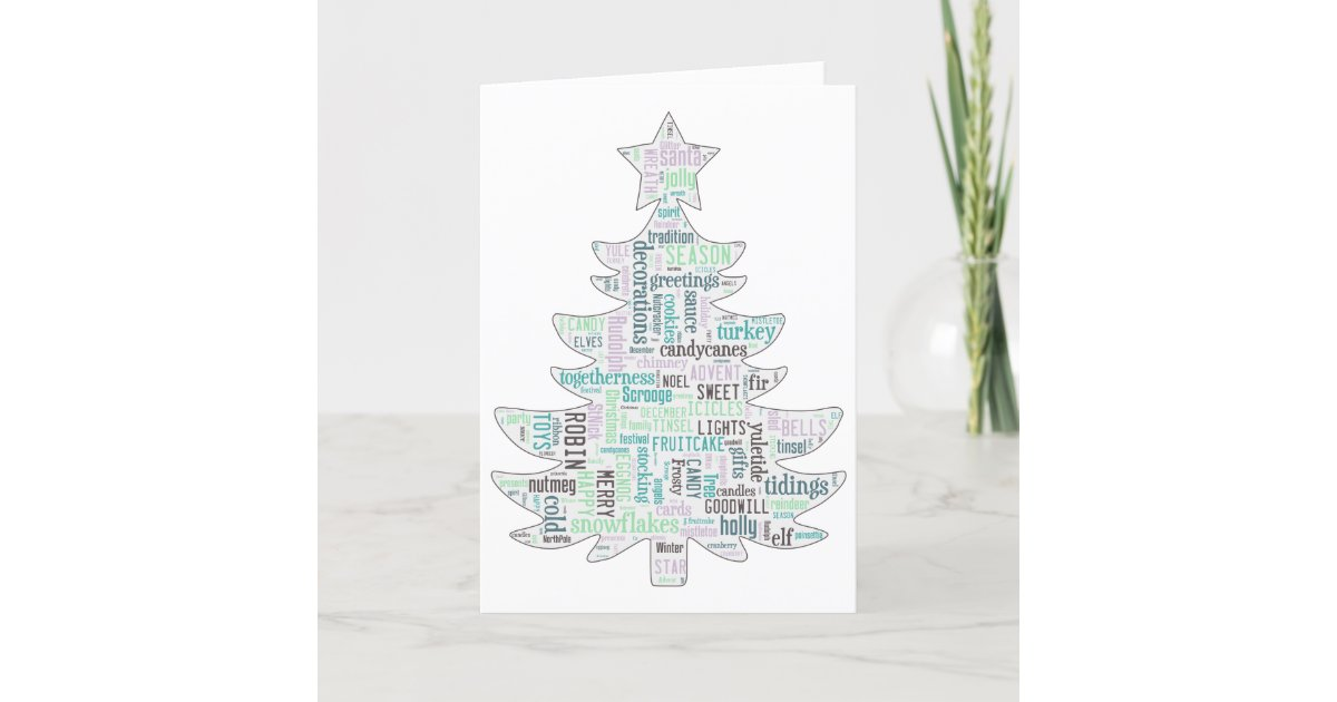 Modern turquoise and mint green Christmas tree car Holiday Card ...