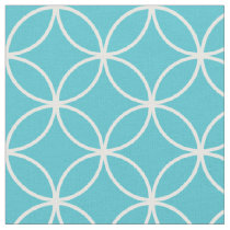 Modern Turquoise and White Circle Diamond Pattern Fabric