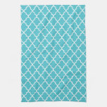 Modern Turquoise and White Moroccan Quatrefoil Kitchen Towels