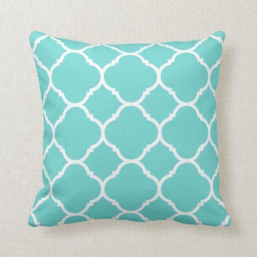 Modern Turquoise and White Quatrefoil Throw Pillow Zazzle