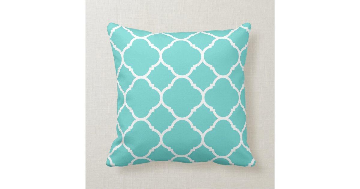 Modern Turquoise Pillows : Modern Turquoise and White Quatrefoil Throw Pillow Zazzle